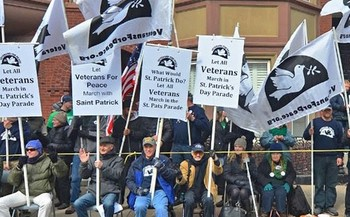 While organizers are allowing the LGBTQ group OutVets march in next week's famous St. Patrick's Day Parade, another group still is prohibited from joining the walk. (Veterans For Peace)