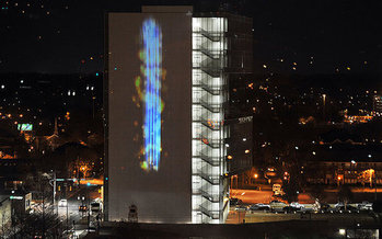 A free public art display on a downtown Raleigh building will illustrate the amount of particulate matter in the air in real-time. (Nancy Pierce)