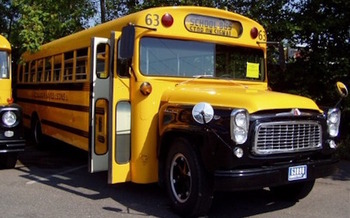 About 85 percent of Connecticut students ride buses to public schools, which exposes them to greater levels of air pollution. (School Bus Central/Wikimedia Commons)