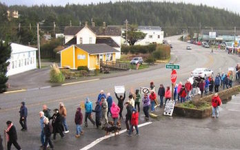 The Women's March drew about 300 protesters to Port Orford in January. (Tim Palmer)