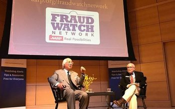 A former identity thief turned fraud expert, Frank Abagnale, Jr. (L) shares tips with Mainers at USM Portland to help them avoid becoming fraud victims. (Carol Brooks)