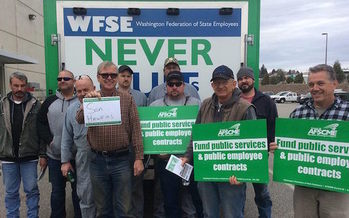 Members of Washington state's largest union are asking state lawmakers to fund their contracts. (Sean Dannen/Washington Federation of State Employees)