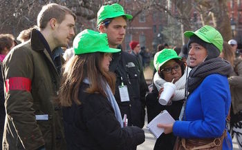 National Lawyers Guild Legal Observers document rights violations at protests. (Thomas Altfather Good/Wikimedia Commons)<br />