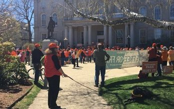 Protesters joined hands in Concord Sunday to protest the Northern Pass power line project (B. Tilton).