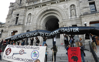 Northwest tribes are fighting the proposed expansion of the TransMountian Pipeline, which would stretch from the Alberta tar sands to Puget Sound. (Stop Carbon Pollution/Flickr)