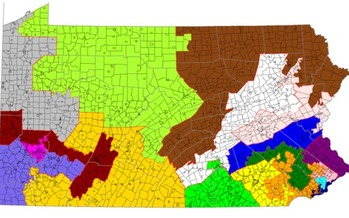 A new report blames bias in drawing district lines for giving the Republican Party a 13-5 advantage in Pennsylvania's congressional delegation. (61-1099lm/Wikimedia Commons)