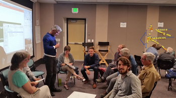 Brian Weinberg of the Capital Institute (bottom right) joined others at a summit in Boulder to brainstorm ways to establish a regenerative world economy. (Brett McPherson)