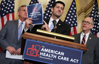 House Speaker Paul Ryan explains the American Health Care Act at a news conference last month. (Somodevilla/GettyImages)