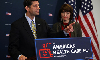 House Speaker Paul Ryan, left, discusses the American Health Care Act at a recent news conference. (Sullivan/GettyImages)