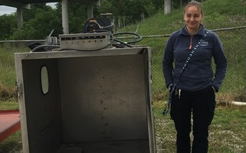 A smile of good riddance from animal control officer Tasha Koeven in Moberly, Mo. (Humane Society of Missouri)