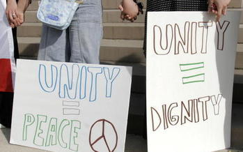 The group Indivisible Rapid City is protesting an event sponsored by the anti-Muslim group Act for America. (Bill Pugliano/Getty Images)