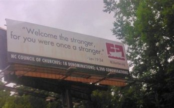 The North Carolina Council of Churches quotes scripture on a billboard on Interstate 40 near Statesville. (NC Council of Churches)