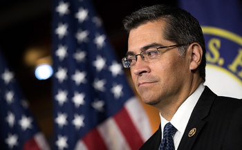 Calif. Attorney General Xavier Becerra issued a ban on state employee travel to Texas, with Texas' new state law legalizing discrimination against LGBTQ families in adoptions. (Angerer/GettyImages)