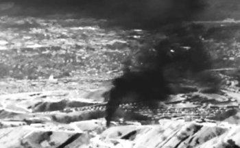 Imagen infrarroja muestra la fuga de gas natural en Aliso Canyon, en 2015. Las nuevas reglas reducir�an las fugas de los ductos. (Environmental Defense Fund)