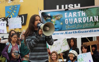 Xiuhtezcatl Martinez, youth director for Earth Guardians, leads a rally in Boulder, Colo. (Earth Guardians)
