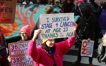 Protests to save the Affordable Care Act, such as this one in January, will continue this Saturday in more than 100 cities across the United States. (Save My Care)