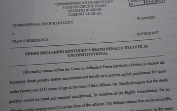 A judge in a Kentucky murder case has made a pretrial ruling that the prosecutor can not seek the death penalty because the defendant was younger than 21 at the time of the crime. (Greg Stotelmyer)