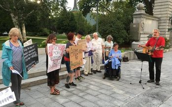 Local activists gathered Saturday to remember the lives lost at Hiroshima and Nagasaki, Japan, and urged caution as the Trump administration deals with nuclear issues with North Korea and Iran. (NH Peace Action)