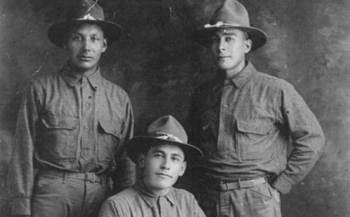 More than 350 Native Americans from tribes in North Dakota served in World War I. The three soldiers above are from the three affiliated tribes of Fort Berthold. (UTTC)