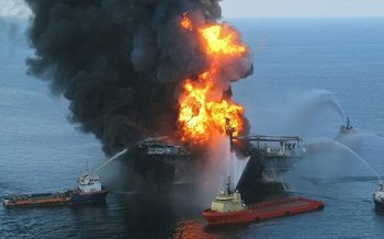 Industrial accidents like the Deepwater Horizon disaster are just one fear of opponents of offshore drilling in the Atlantic. (U.S. Coast Guard/Wikipedia)