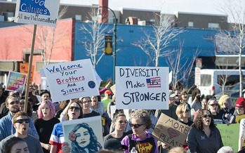 President Trump's proposed immigration ban brought Minneapolis residents out to support diversity in February. (Fibonacci Blue/Flickr)