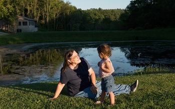 Terri Schumacher of Barnesville, Ohio, says her family is suffering from health problems due to nearby oil and gas development. (Scott Goldsmith/Earthjustice)