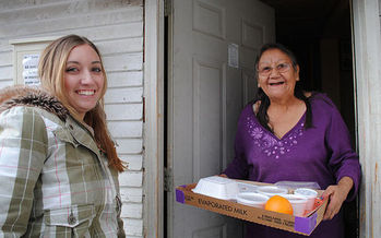A nonprofit restaurant in Marsing, Idaho, serves seniors free meals and also prepares food for the Meals on Wheels program. (Katrina Heikkinen/U.S. Air Force)