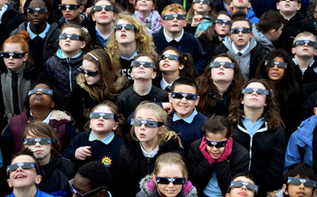 Safety glasses protect the eye from damage from looking at the sun. (Getty Images)