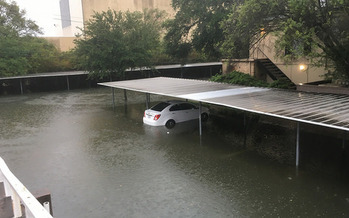 Hurricane Harvey flooded this parking garage in Houston, and rain from the storm's remnants is expected to hit Tennessee today. (R. Crap Mariner/Flickr)