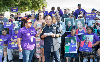 Workers in Moreno Valley rallied Wednesday in favor of a bill that would mandate minimum staffing levels at dialysis clinics. (SEIU)