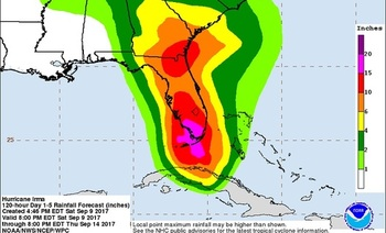 During hurricanes, people depend on charts and predictions from the National Hurricane Center and the National Weather Service. (NOAA/NWS)