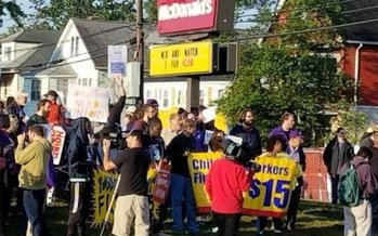 New England fast-food workers elected to walk off the job in many cities, including Boston and Hartford, for Labor Day in their fight for a $15 hourly wage. (SEIU)
