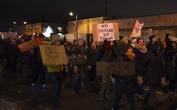 People in Minneapolis also rallied against Trump immigration policies in November 2016. (Fibonacci Blue/Wikimedia Commons)