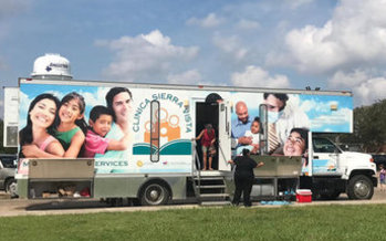 Mobile health units from California are serving 50 to 80 hurricane survivors per day in Texas this week. (Clinica Sierra Vista)