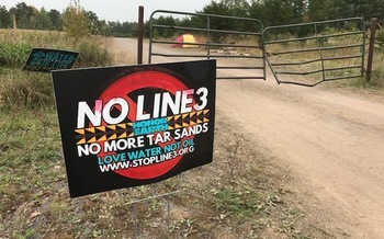 Residents of a camp near Cloquet are vowing to stop Enbridge Energy from building a new oil pipeline across Minnesota. (Laurie Stern)