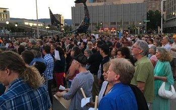 Crowds filled a peace rally in Reno last month. (Indivisible Northern Nevada)