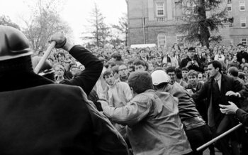 The Dow protests on the University of Wisconsin-Madison campus on Oct. 18, 1967, marked the first time in the nation's history that an anti-Vietnam War protest on a major U.S. campus turned violent. (William Graf, UW-Madison)