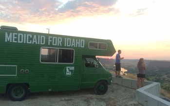 Over the summer, Reclaim Idaho toured the state in a green camper to speak to communities about Medicaid expansion. (Luke Mayville/Reclaim Idaho)