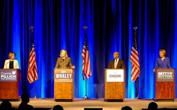 Former state Rep. Connie Pillich, Dayton Mayor Nan Whaley, state Sen. Joe Schiavoni and former U.S. Rep. Betty Sutton participate Sunday in a Democratic gubernatorial debate. (Andrew Keiper)