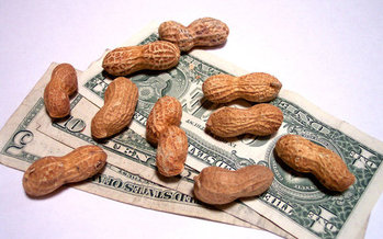 Working for peanuts? A new report on poverty says many Arizona workers just aren't making a living on the state's $10.10 minimum wage. (Cohdra/Morguefile)