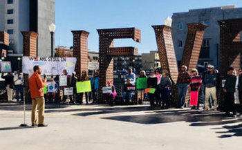 Protesters in Reno called on Gov. Brian Sandoval to sign the