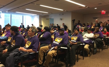 Subcontracted airport workers attended Thursday's meeting of the Port Authority Board of Commissioners. (Carmen Cusido/32BJ SEIU)