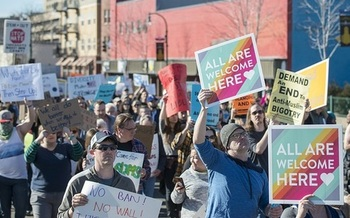 About 3,000 people demonstrated against President Donald Trump's proposed Muslim Ban in Minneapolis' Powderhorn Park last February. (Fibonacci Blue)