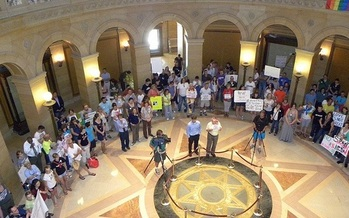 Supporters of same sex marriage rallied in St. Paul in July 2010. (Fibonacci Blue/FlickR)