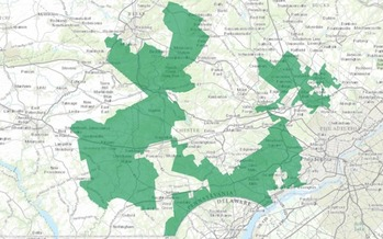 Pennsylvania's 7th Congressional District is considered an extreme example of gerrymandering. (U.S. Department of the Interior/Wikimedia Commons)