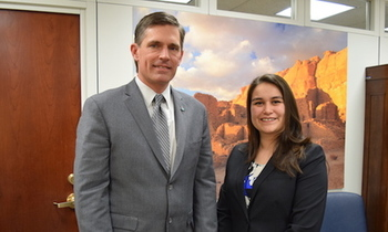 Dreamer Ivonne Orozco-Acosta and U.S. Sen. Martin Heinrich, D-N.M., listened to President Donald Trump's remarks on immigrants while attending the State of the Union address. (heinrich.senate.gov)<br />