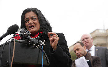 Rep. Pramila Jayapal, D-Wash., will be among the speakers at an alternate event to President Donald Trump's State of the Union address. (Alex Wong/Getty Images)