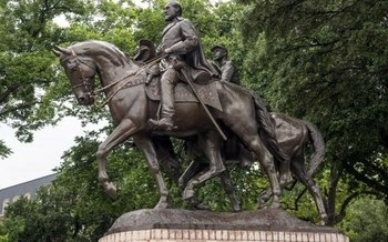 This statue of Confederate Gen. Robert E. Lee in a Dallas park is part of the state's history. But a new report claims there are numerous errors in the history books used in Texas public schools. (Wikimedia Commons)