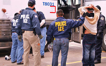 Grassroots groups are encouraging anyone who witnesses U.S. Immigration and Customs Enforcement activities to call a toll-free 24-hour hotline at 844-UNITE-41. (ICE/Wikimedia Commons)