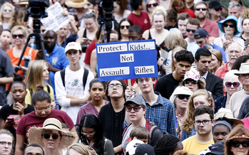 Thousands of students, teachers and parents descended on the Florida State Capitol in protest after a former student with an assault rifle killed 17 students at a school in a shooting rampage. (Moore/GettyImages)<br />